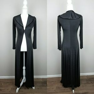 Black Long Duster Robe Witch Dress Gothic Silky bk